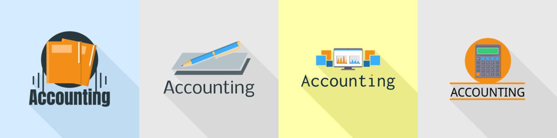 International accounting logo set. Flat set of international accounting vector logo for web design