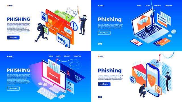 Phishing banner set. Isometric set of phishing vector banner for web design
