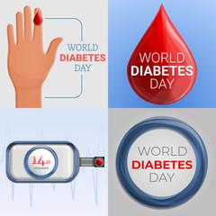 Diabetes day banner set. Cartoon illustration of diabetes day vector banner set for web design