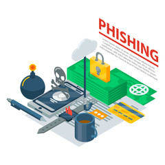 Phishing concept background. Isometric illustration of phishing vector concept background for web design