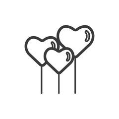 Hearth shape balloons vector icon