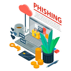 Internet phishing concept background. Isometric illustration of internet phishing vector concept background for web design