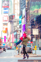 Happy mother and little girl on Manhattan, New York City, New York, USA.