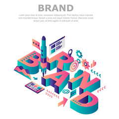 Brand company concept background. Isometric illustration of brand company vector concept background for web design