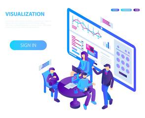Visualization conference concept background. Isometric illustration of visualization conference vector concept background for web design
