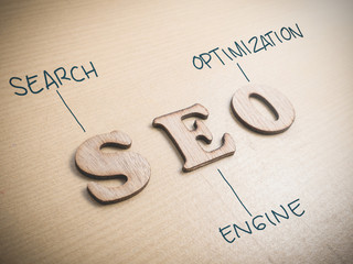 SEO Search Engine Optimization. Words Typography Concept