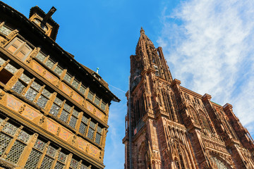 Strasbourg Cathedral beside a historical house