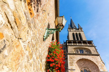 steeple of the famous Aachen Cathedral in Aachen, Germany