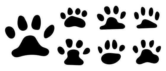 Pets paw footprint. Cat paws prints, kitten foots or dog foot print. Pet rescue logo puppy footprint marks animal shape wildlife mark dirty isolated vector symbol collection for your design