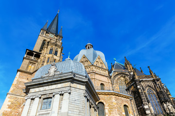 side view of the Aachen Cathedral in Aachen, Germany