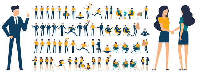 Set of  flat design  characters and poses  Wall mural