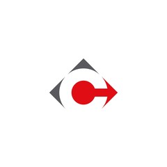 Letter C logo design. square concept.