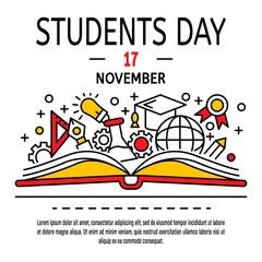Students day concept background. Outline illustration of students day vector concept background for web design