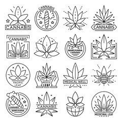 Cannabis logo set. Outline set of cannabis vector logo for web design isolated on white background