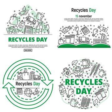 Recycles day banner set. Outline set of recycles day vector banner for web design