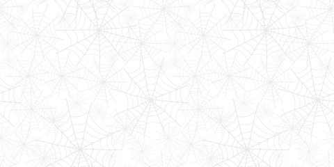 Silver grey Halloween spiderweb pattern. Great for spooky holiday wallpaper, backgrounds, invitations, packaging design projects. Surface pattern design.