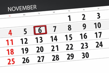 Calendar planner for the month, deadline day of the week 2018 november, 6, Tuesday