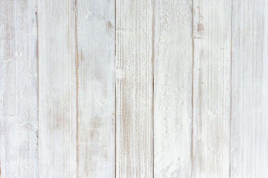 Vintage white wood texture background, wooden table top view.