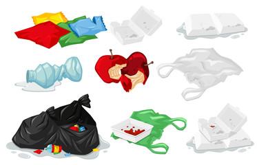 Set of plastic trash