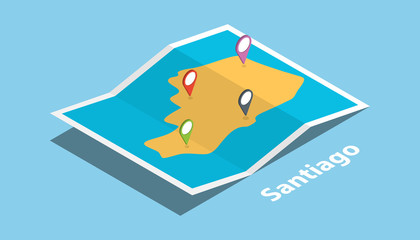 santiago city in philippines explore maps with isometric style and pin location tag on top vector illustration