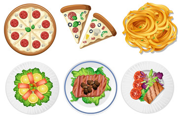 Set of food on white background