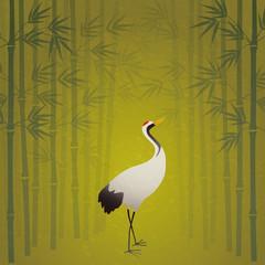 竹林と丹頂鶴、屏風絵風、和風イラスト