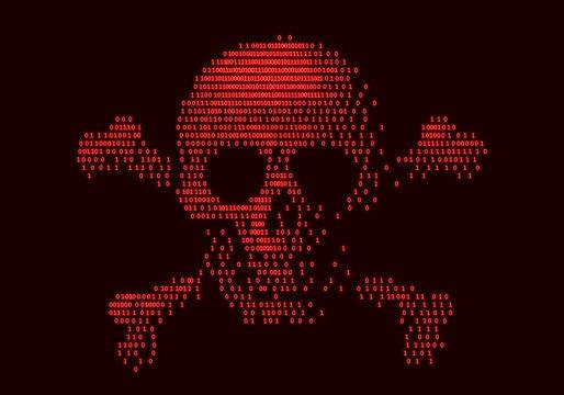 Digital skull and crossbones on binary code