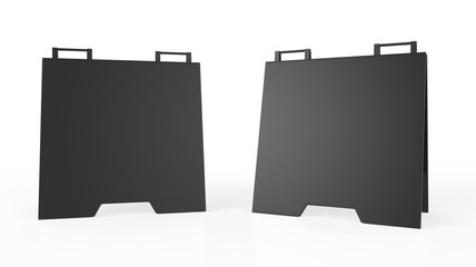 Crezon or PVC A-frame sandwich boards for design mock up and presentation. white blank 3d render illustration