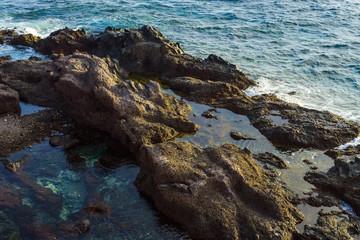 Coastline in the small fishing village of Alcala.  Tenerife. Canary Islands..Spain