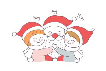 Cartoon cute Christmas Santa Claus hug  children vector.