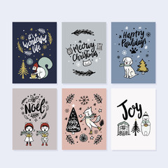 Collection of fun whimsical greeting cards in vector