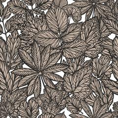 Floral pattern, vintage. Decorative leaves, nature concept. Seamless background vector