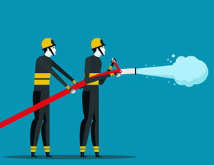 Firefighting. Fireman with rescue equipment situations isolated. Concept labor vector illustration, Career, labor character.