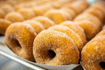 Sweet cider donuts freshly baked and brown