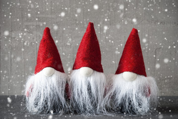 Three Gnomes With Red Hat, Cement, Snowflakes, Jelly Bag Cap