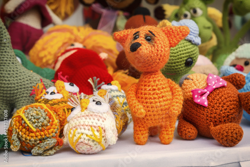 Knitted Handmade Dolls For Sale In The Street Shop Of Souvenirs