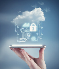 Hand holding a phone with a cloud and personal data information.