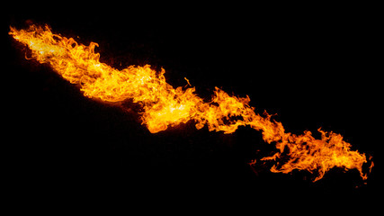 Wall Murals Fire / Flame Dragon breathing flame, fire stream isolated on black