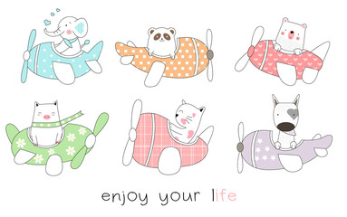 Cute baby animal cartoon hand drawn style