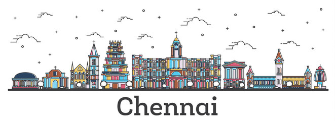Wall Mural - Outline Chennai India City Skyline with Color Buildings Isolated on White.