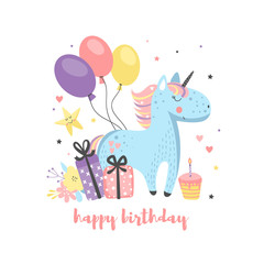 Birthday card with funny unicorn