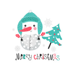 Christmas background with cartoon snowman