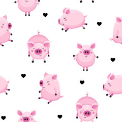Baby seamless background with cute pigs