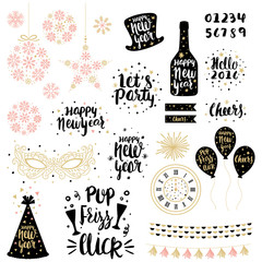 Set of hand drawn New Years illustrations in vector
