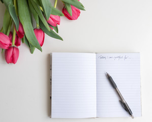 """High angle view of red tulips, journal with pen and handwritten """"Today I am grateful for"""""""