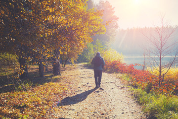 A man walks along a path in a park near a lake in the early morning in the autumn Wall mural