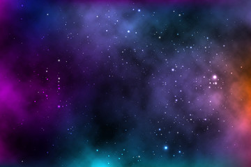 vector background of an infinite space with stars, galaxies, nebulae.