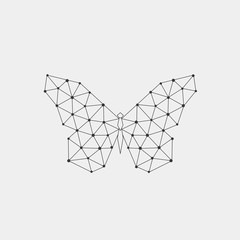 Geometric butterfly. Polygonal linear abstract animal from triangles. Vector illustration.