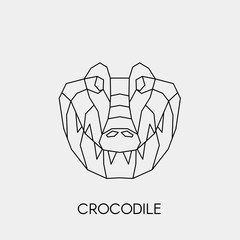 Geometric crocodile. Polygonal linear animal head. Vector illustration.