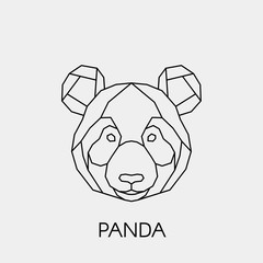 Geometric panda. Polygonal linear bamboo bear head. Vector illustration.